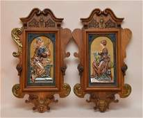 """Pair Majolica Plaques in carved wood frames. 25"""" x 15"""""""