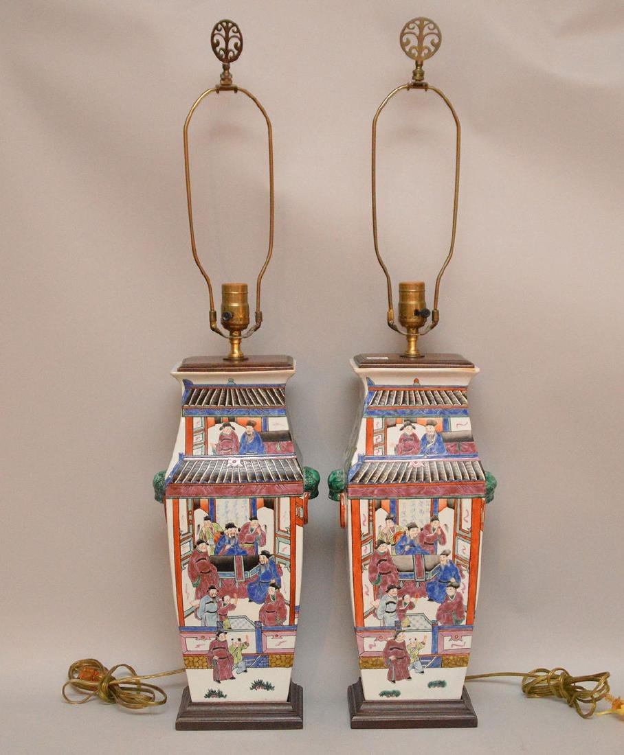 """Pair Chinese lamps, 33""""h to top"""