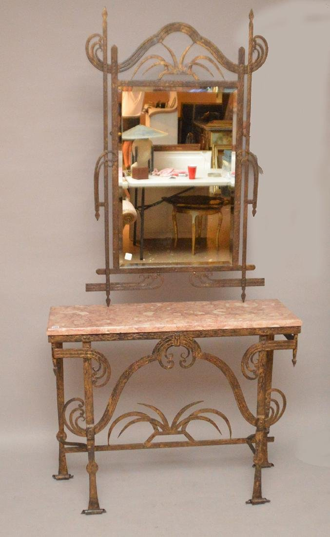 French Art Deco wrought hand Iron and marble top