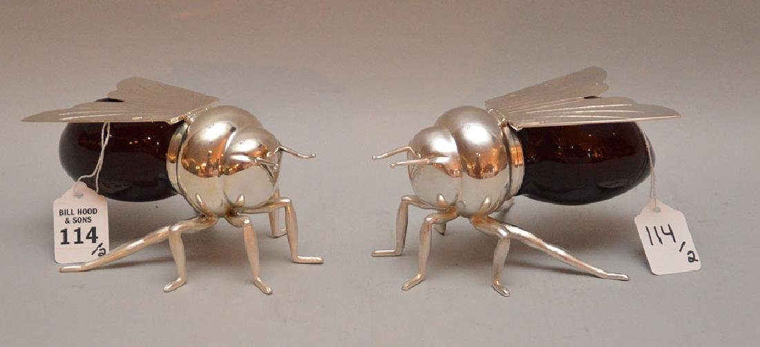 """Two Silver Plated & Glass Bubble Bee's.  Ht. 3 1/4"""""""