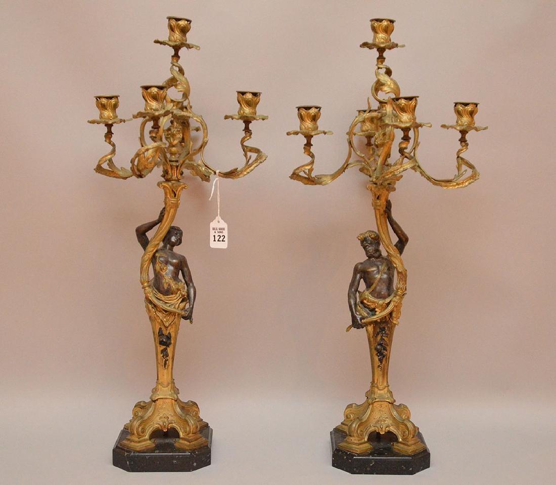Pair gilt patinated bronze, 5 light candelabra, 25