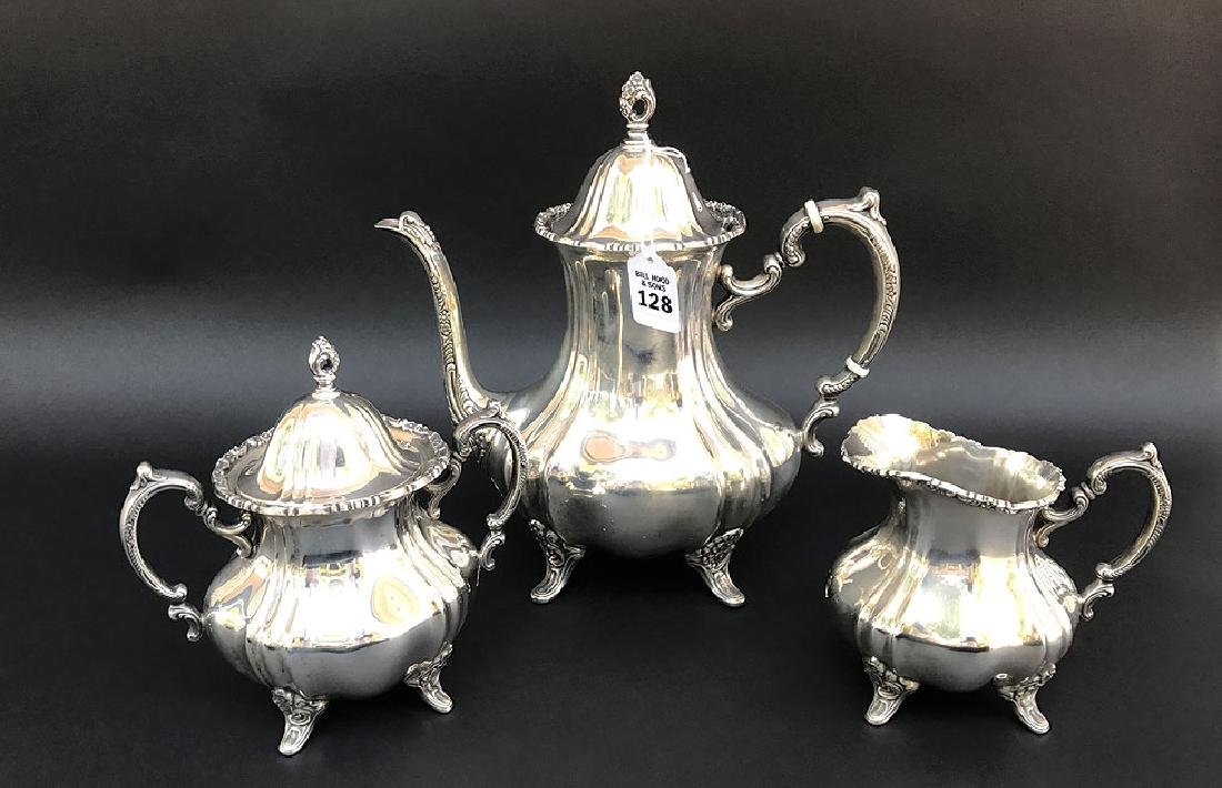 "3 Piece Poole Sterling Tea Set.  Tea Pot Ht. 11"" 64oz."