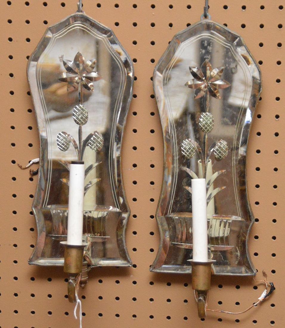 "Pair Venetian Mirrored Sconces.  Ht. 16"""