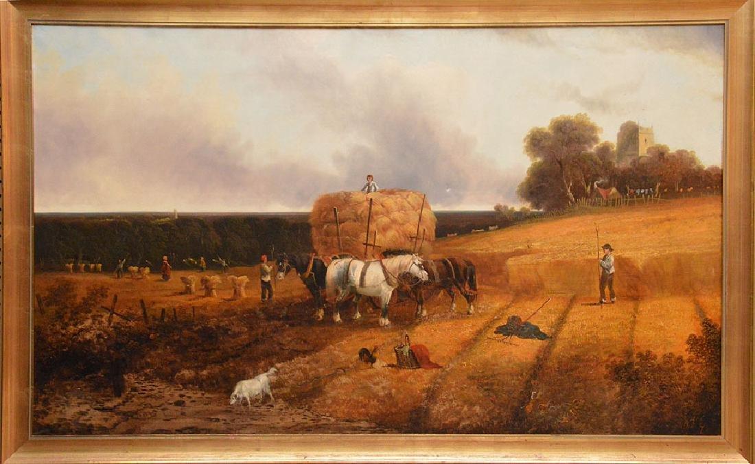 19th Century European School oil on canvas, Castle and