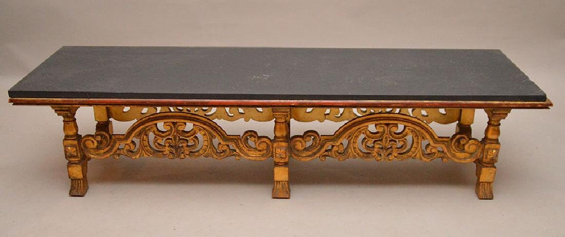 Gilded, carved baroque style bench/coffee table, slate