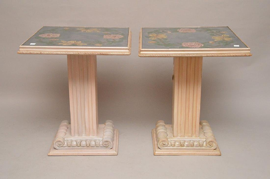 """Pair vintage painted mirrored end tables, 28""""h x 24""""w"""