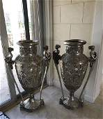 Silvered bronze oversized urns with female figural