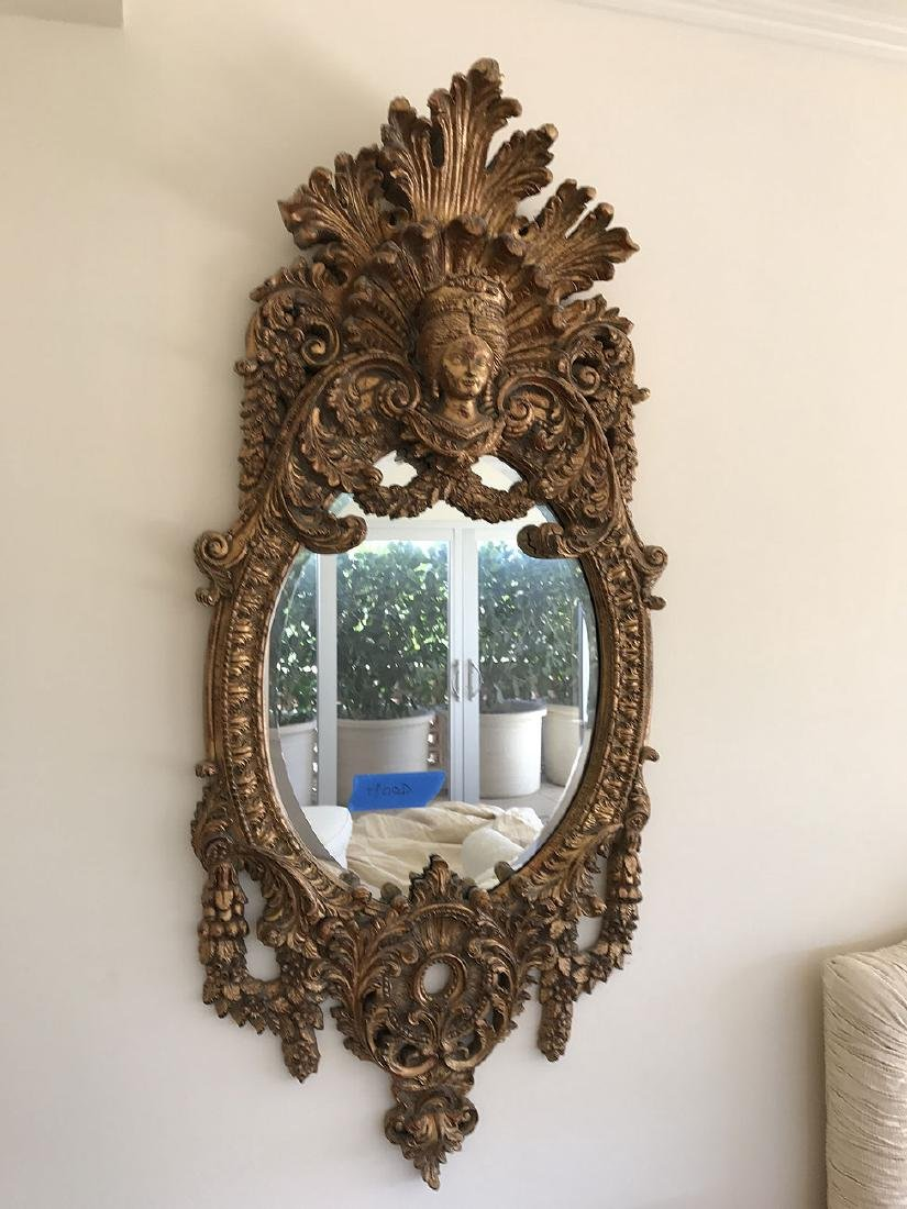 "Pair faux gilded ornate mirrors (Styrofoam), 59"" x 25"""