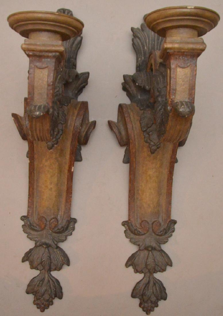 "Pair carved wood & painted sconces, 27""h x 16""d"