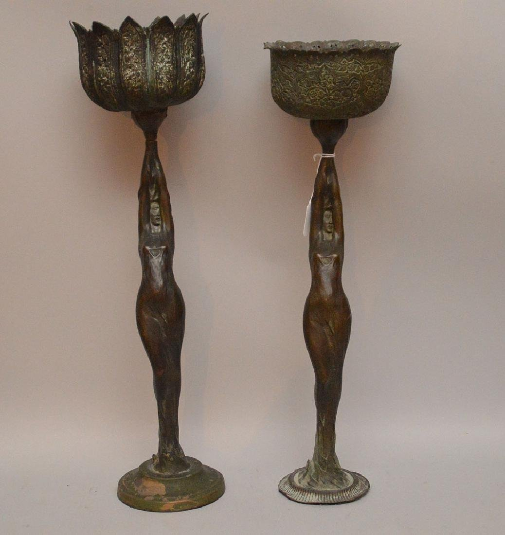 """Two Art Nouveau From Bronzes holding bowls.  Ht. 19"""""""