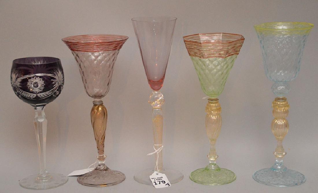"""5 Assorted Venetian Glass Stems. Tallest Ht. 11"""""""