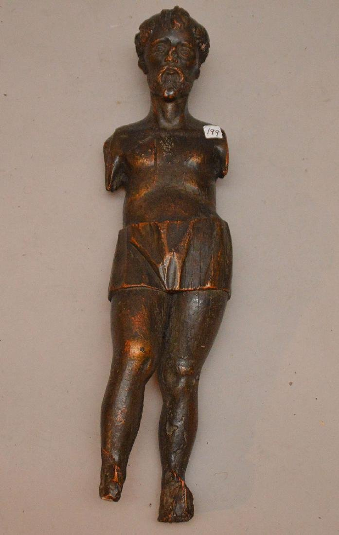 "Bronzed metal Santos, 30""h"