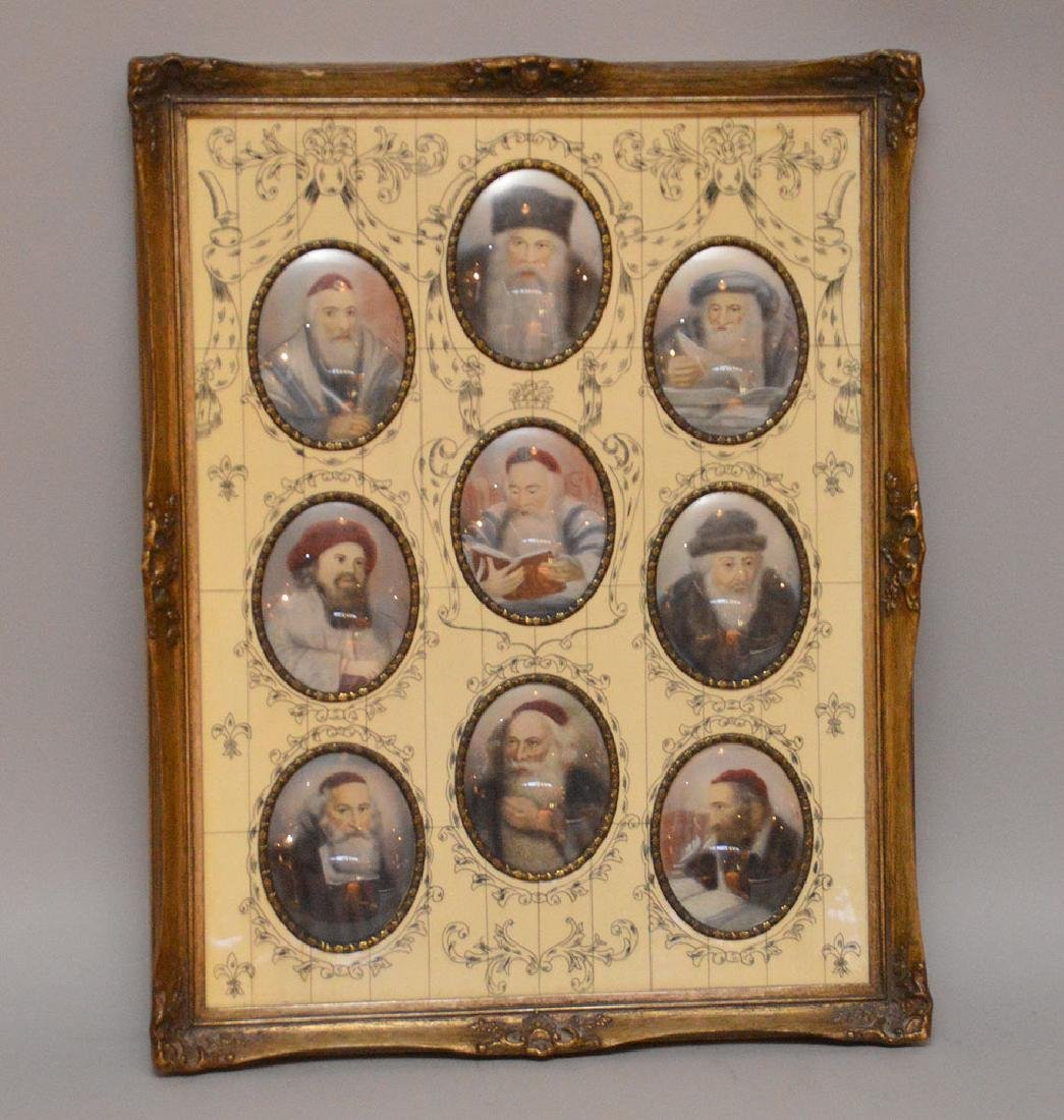 9 hand painted Miniature Judaica portraits framed