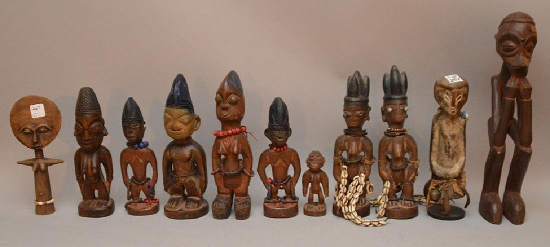 """11 Assorted carved African figures, mostly 11""""h, some"""