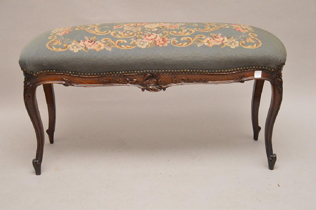 Louis XV style needlepoint bench