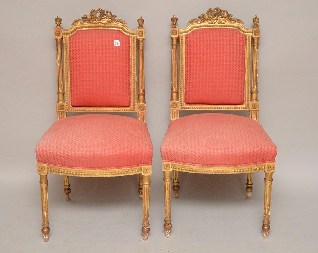 Pair giltwood carved French side chairs