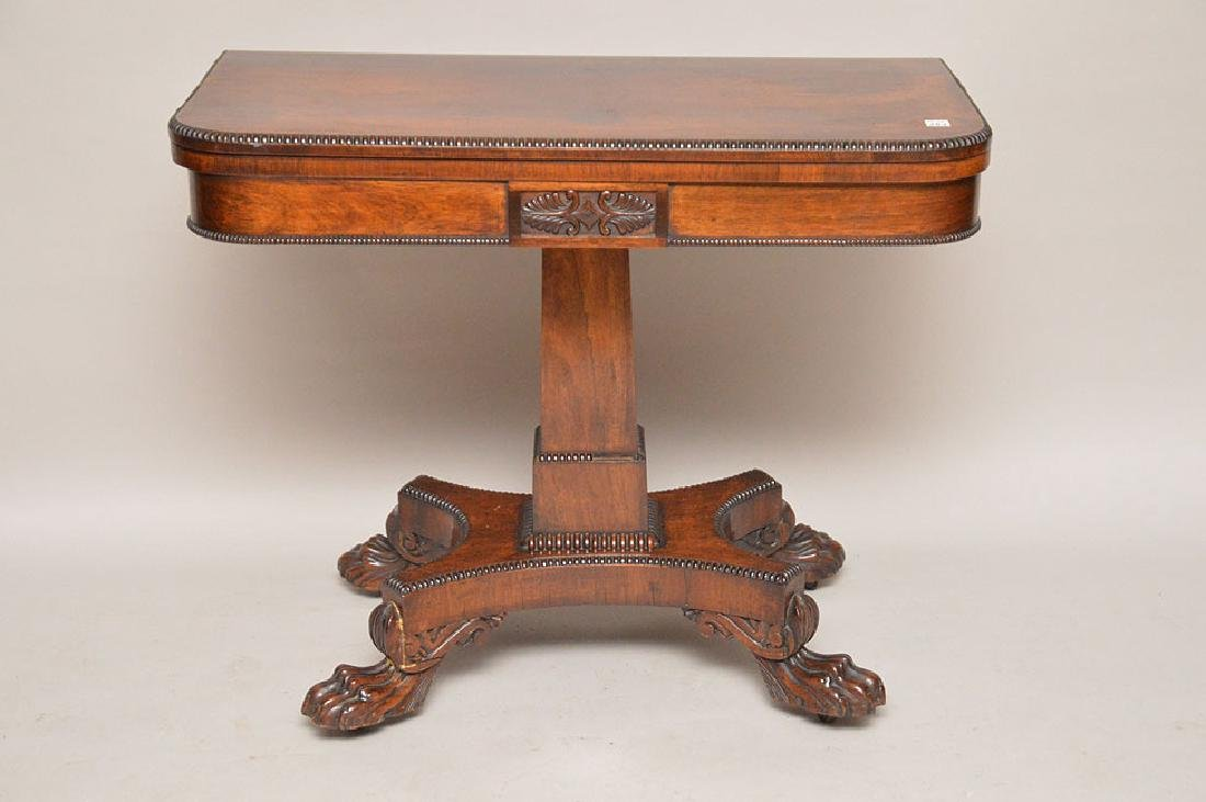 "19th c. Rosewood card table, 28 1/2""h x 36""w x 17 3/4""d"