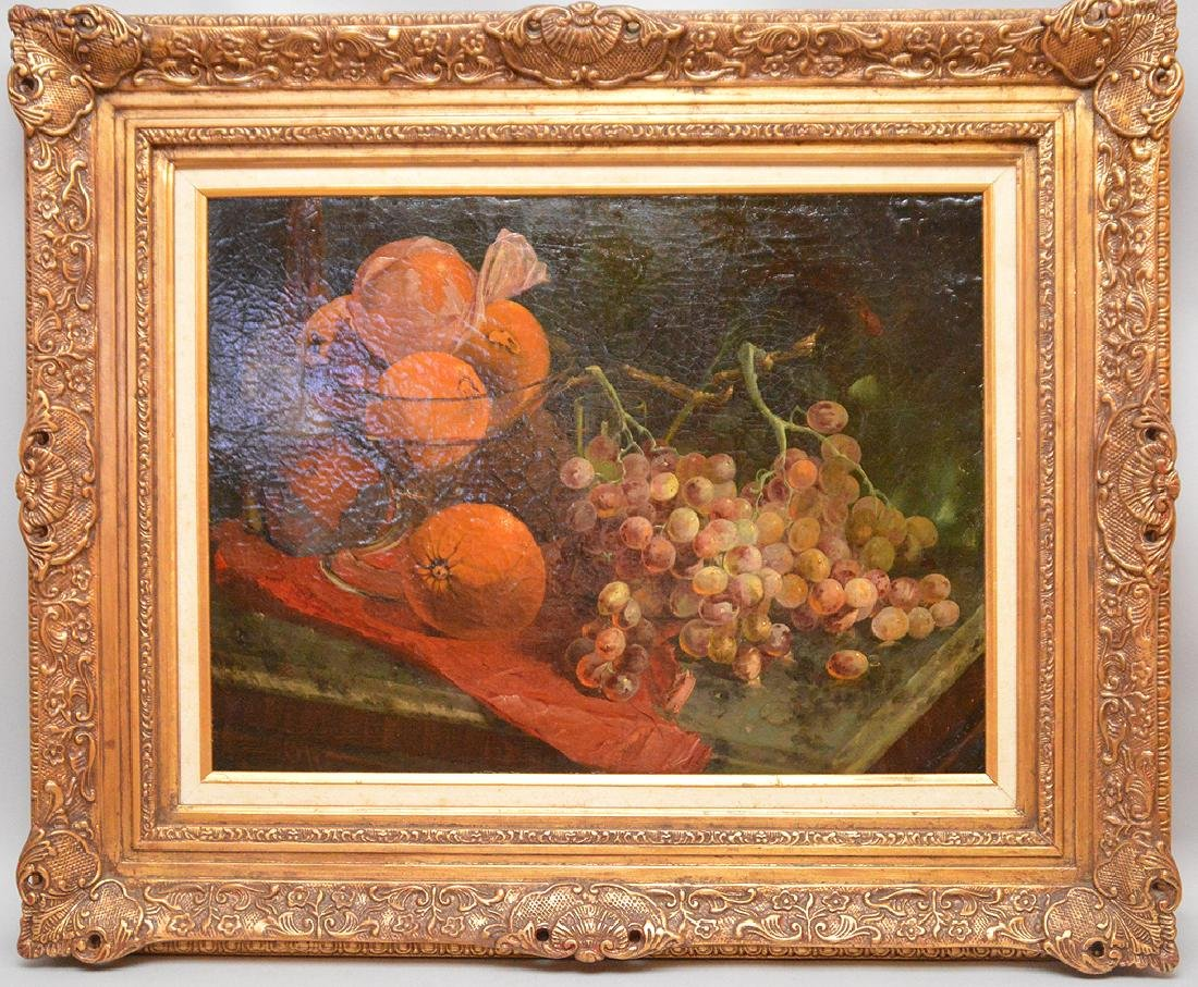 H. Cooper oil on canvas, on board, sill life oranges