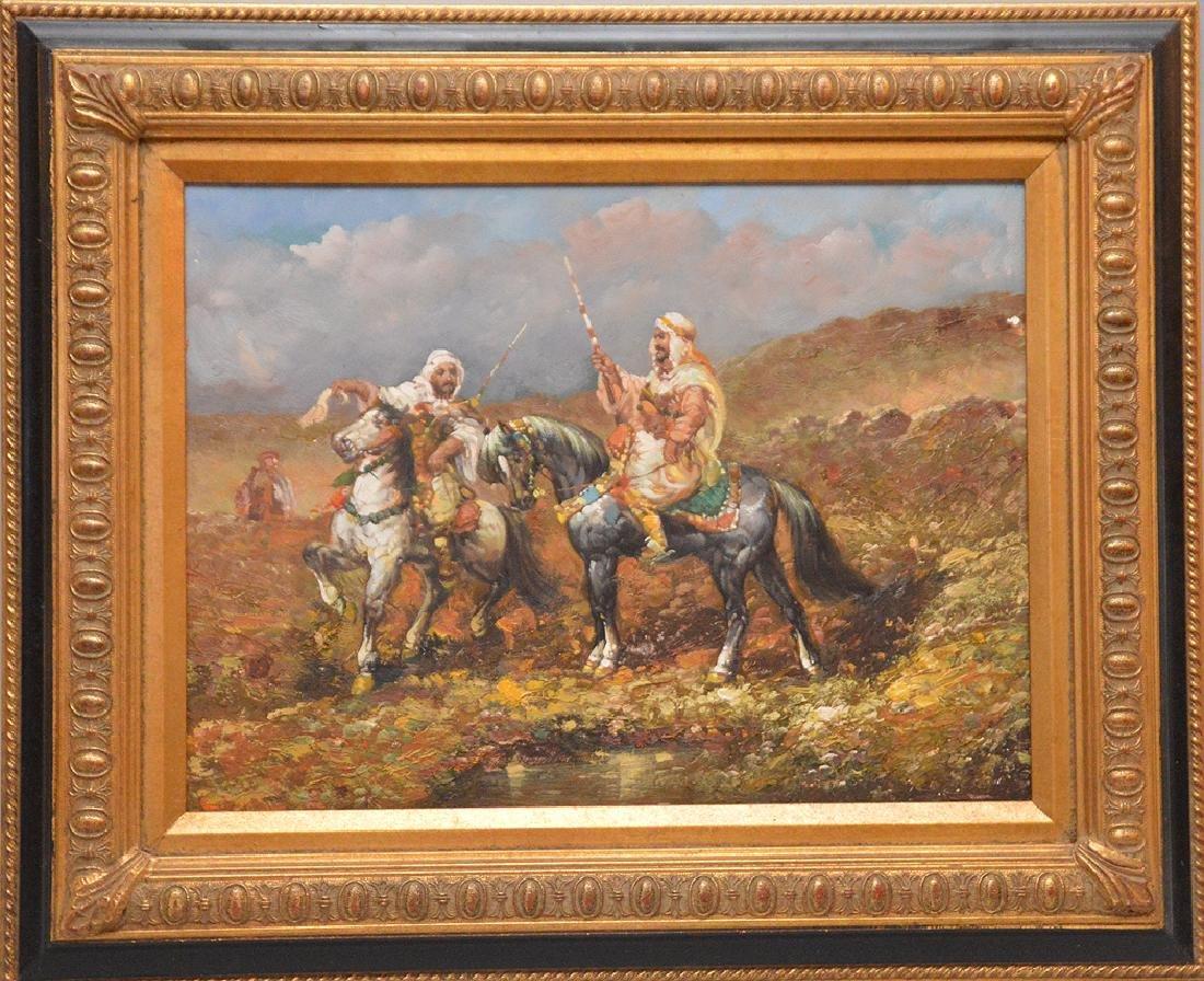 After Adolf Schreyer (German, 1828-1899) Oil on board,