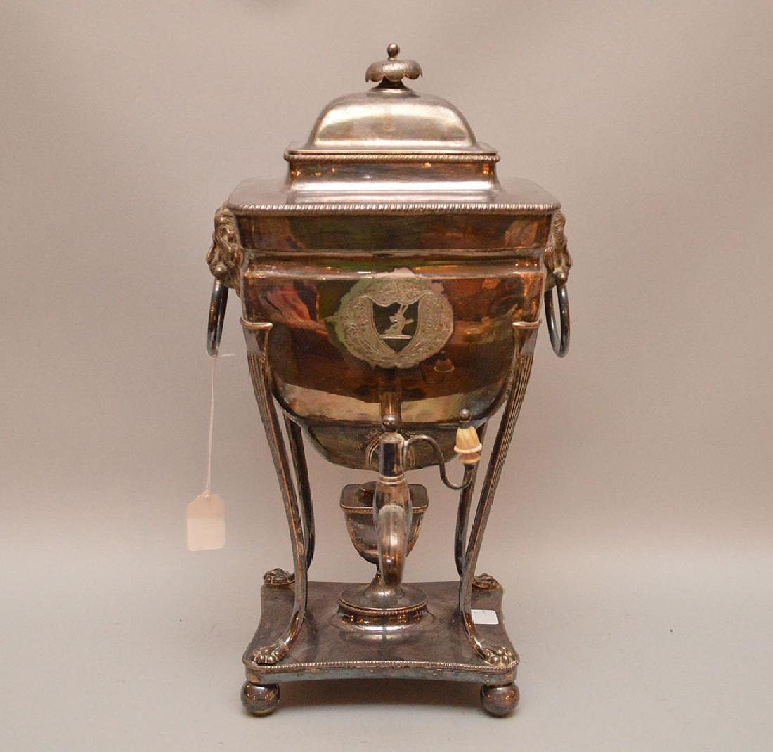 Antique Silver Plated Samovar with lion figural mask