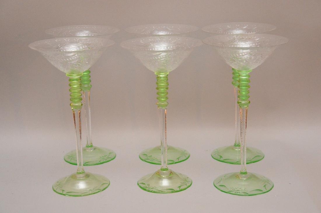 """6 Vintage tall stemmed champagnes, green stemmed, 9""""h"""