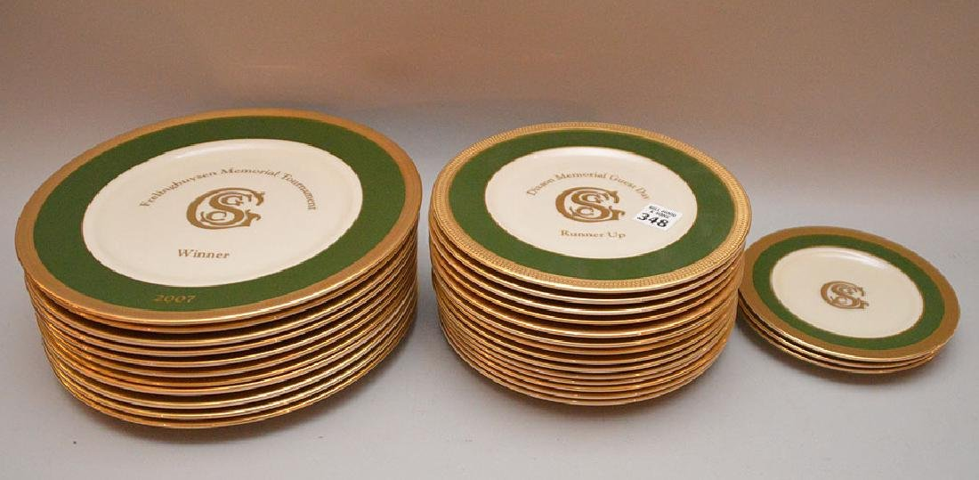Lenox chinaware with green and gold border, Gulf Stream