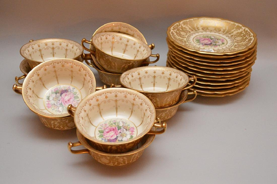 """Rosenthal """"Ivory"""" (11) cream soups and (12) liners"""