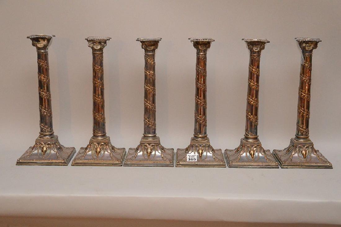 "6 vintage silver plate candlesticks, 13""h"