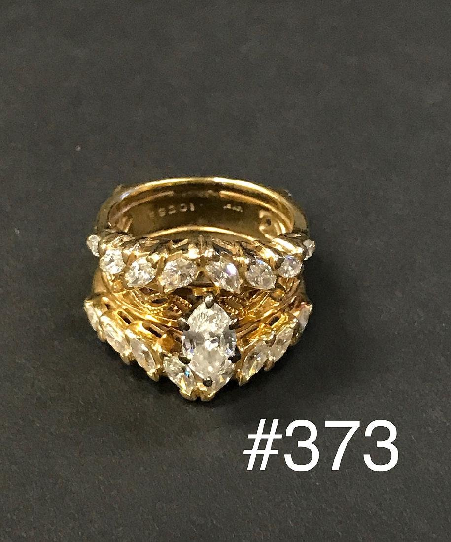 14kt yellow gold diamond ring overall with 7 grams