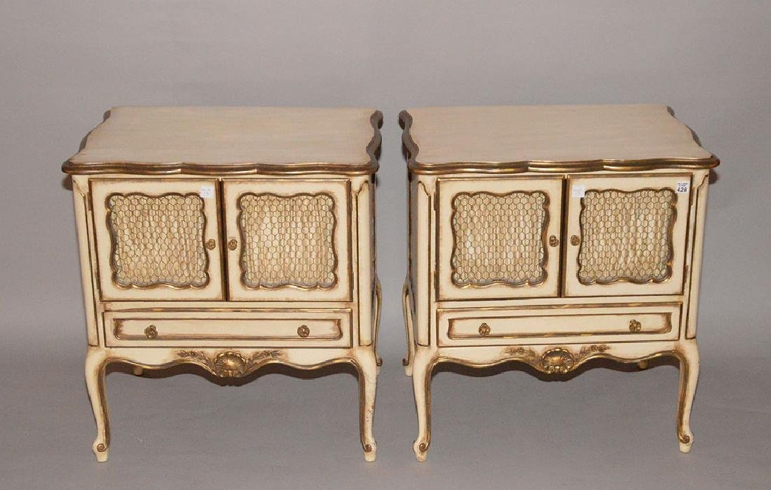 Pair French Provincial white end tables, grid doors