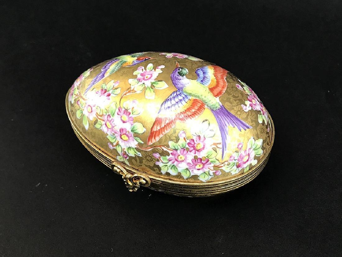"""Sevres Porcelain Egg Form Hinged Box.  Lth. 3 1/2"""""""