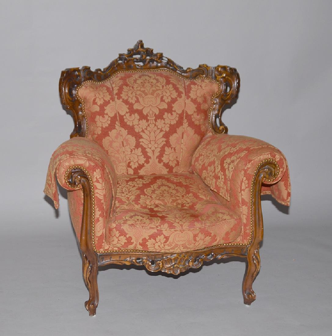 19th Century Carved Wood & Upholstered Chair.  Ht. 39""