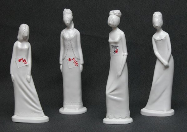 1003: 4 Copeland female figurines.  Sizes range from 9