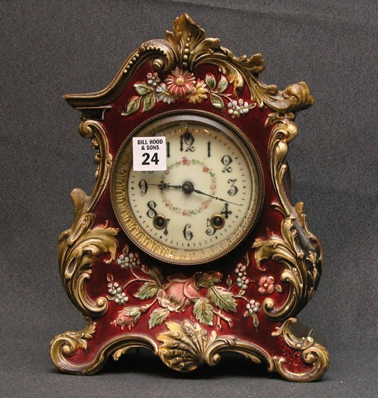 "1024: Porcelain cottage clock, 11""h x 9""l"