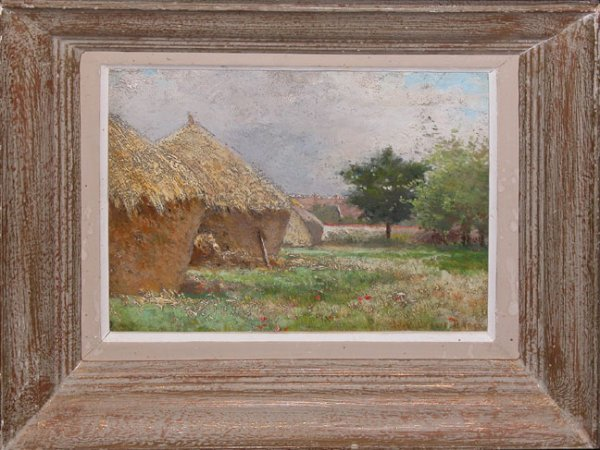 1042: French School, oil on board, haystacks & farm sce