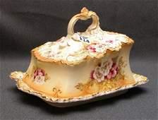"1114: Circa 1910 porcelain covered cheese dish, 10""l x"