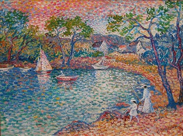 1181: Lucien Neuquelman French oil pointillist painting