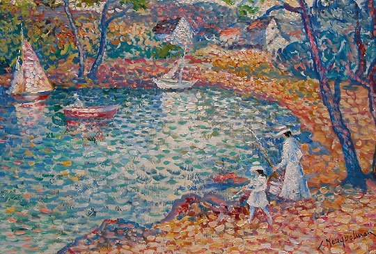 1181: Lucien Neuquelman French oil pointillist painting - 2