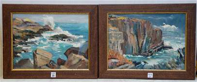Pair of Russian School Seascapes oil on canvas