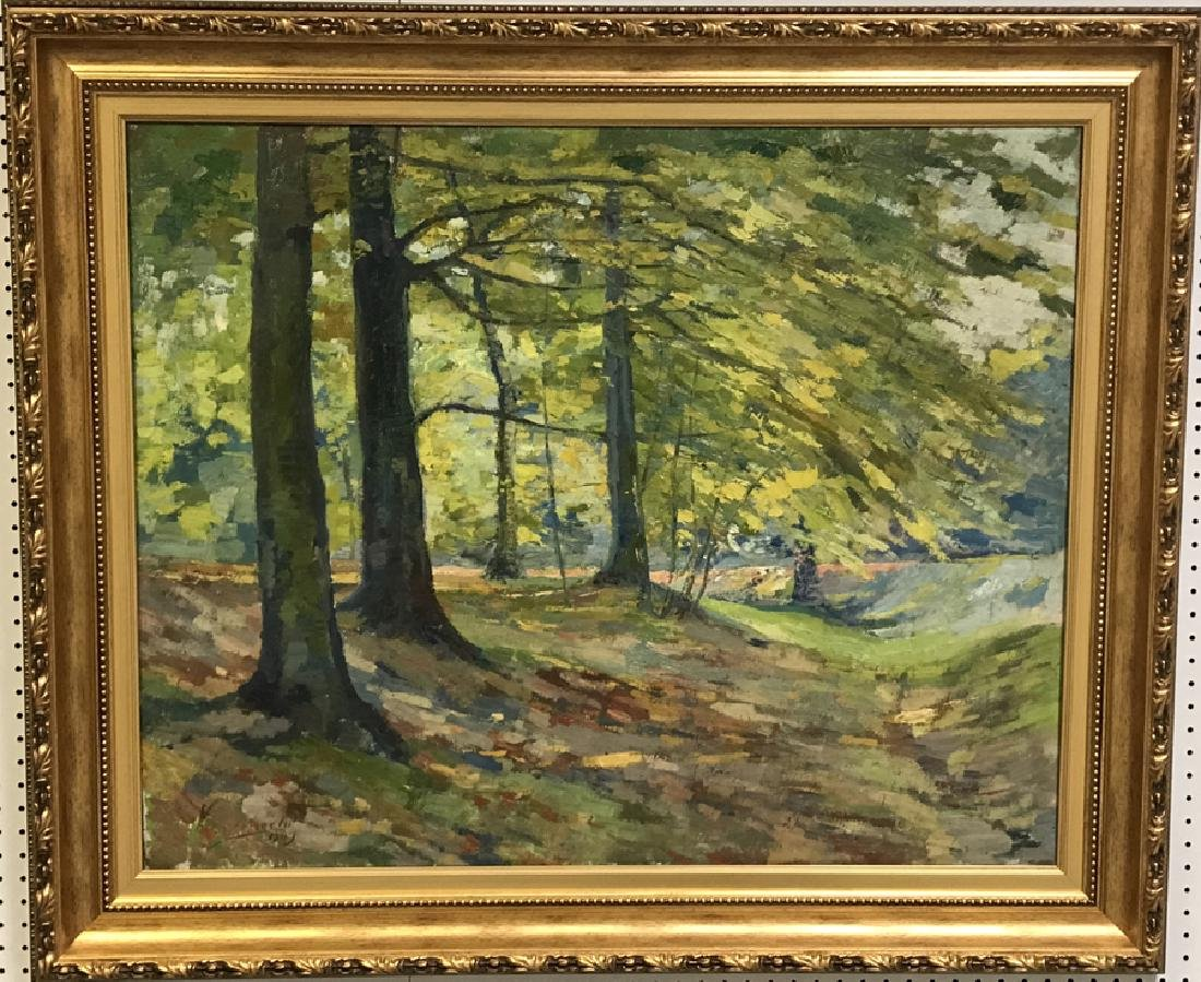 Large Tree Landscape, oil on canvas, signed illegible,