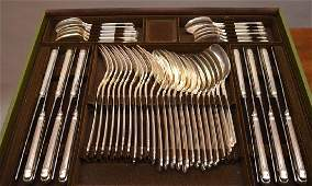 Christofle silver plate flatware service for 12 in box,