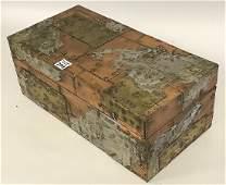 "Art Deco mixed metal box, 6 1/2""h x 16""w x 8""d"