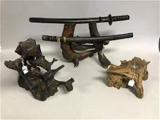 3 Vintage Rootwood Stands. One Samurai Sword Stand Ht.