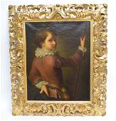 19th c Old Master style oil on canvas in carved