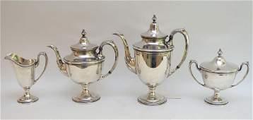 4 piece sterling silver tea set teapot 12h 77ozt