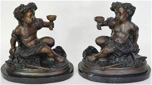 Pair Bronze Bookends On Marble Bases depicting two