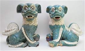 Pair Large Asian Glazed Pottery Foo Dogs  Ht 17