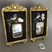 Pair Gilt Bronze  Pietra Dura Frames  Ht 9 W 5