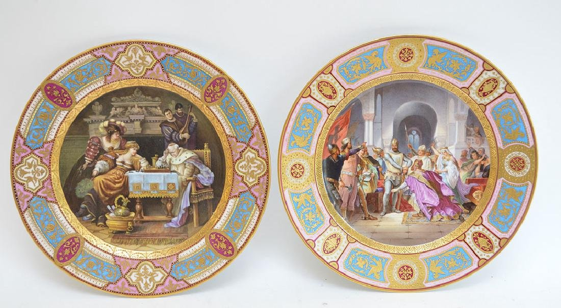 Pair Vienna Handpainted Porcelain Cabinet Plates each
