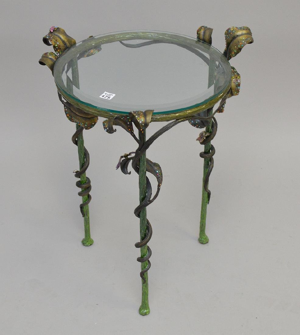 Jay Strongwater enamel & jeweled table with a glass